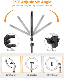 Lampa Circulara LED BlitzWolf BW-SL2 Make up Profesionala, Ring Light 120 Leduri cu Lumina Rece/Calda6