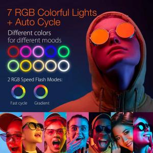 Lampa Circulara LED BlitzWolf BW-SL5 RGB Make up Profesionala, Ring Light 120 Leduri 10 culori de lumina, cu Trepied 17cm [5]