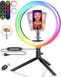 Lampa Circulara LED BlitzWolf BW-SL5 RGB Make up Profesionala, Ring Light 120 Leduri 10 culori de lumina, cu Trepied 17cm [1]