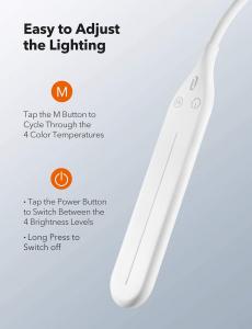 Lampa de podea LED TaoTronics TT-DL072, ajustabile 4 culori de culoare, 4 niveluri de luminozitate - Alba3