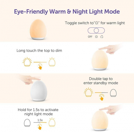 Lampa de veghe VAVA VA-CL009 LED, RGB, cu reglare touch a Intensitatii, lumina calda [5]