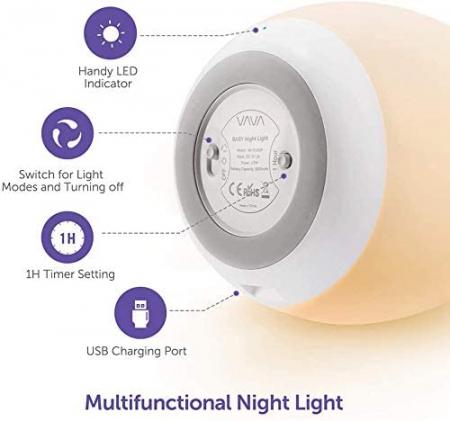 Lampa de veghe VAVA VA-CL009 LED, RGB, cu reglare touch a Intensitatii, lumina calda [3]