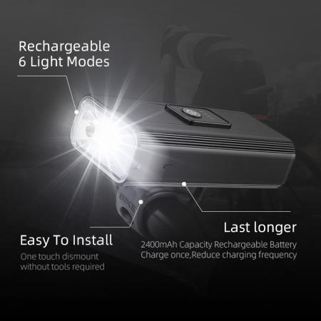 Lanterna LED pentru bicicleta Supfire GT-R3, 1400lumeni, 130m, acumulator 2400 mAh, USB [9]