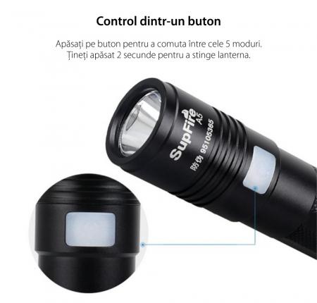 Lanterna LED Supfire A5, 300lm, 200M incarcare USB, Negru [3]