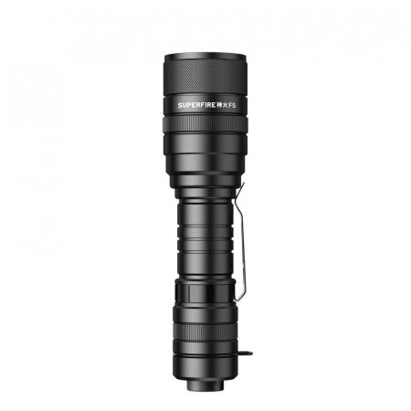 Lanterna LED SupFire F5 cu Zoom, 10W, 1100 lm, 5 moduri, rezistenta la apa, incarcare USB, Negru [1]
