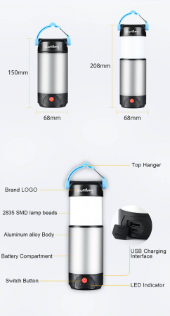 Lanterna LED SupFire T9, Pentru Camping, 800 lm, incarcare USB, PowerBank [6]