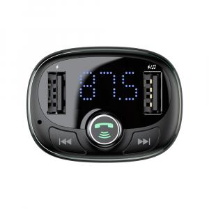 Modulator FM Baseus FM T-Type Bluetooth MP3 incarcator masina Negru - CCALL-TM015