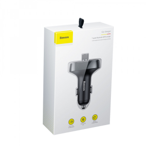 Modulator FM Baseus FM T-Type Bluetooth MP3 incarcator masina Negru - CCALL-TM016