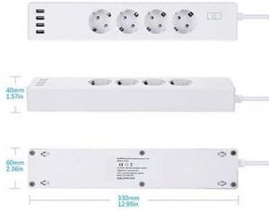 Prelungitor smart WiFi Meross MSS425F, 4 Prize, 4 x USB, Cablu 1.8m, Alexa, Google Assistant2