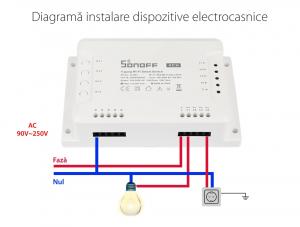 Releu Wireless Sonoff 4CHR3, 4 canale, Alexa / Google Home [7]