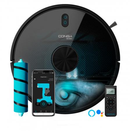 Robot de aspirare Cecotec Conga 6090 Ultra, 4 in 1, 10000 Pa, Laser, Autonomie 240 minute, Rezervor lichide si praf, Functie mop, 3 perii centrale, telecomanda inclusa0