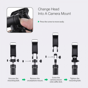 Selfie Stick Tripod BlitzWolf 3 in 1 cu  Lanterna LED si telecomanda detasabila - BW-BS8 [13]