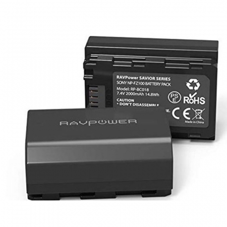 Set 2 acumulatori FZ100 cu incarcator RAVPower RP-BC018, pentru camere Sony NP-FZ100, Alpha A7 III, A7R III, A9, Sony Alpha A9, A7R3, a660, a7R IV, Alpha a9II, Alpha 9R, A9R, Alpha 9S [2]