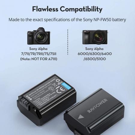 Set 2 acumulatori NP-FW50 cu incarcator RAVPower RP-PB056, pentru camere Sony NEX-3, NEX-3N, NEX-5, NEX-5C, NEX-5N, NEX-5R, NEX-5T, NEX-6, NEX-7 , NEX-C3, NEX-F3 [6]