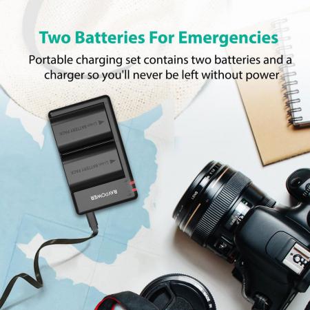 Set 2 acumulatori LP-E6, LP-E6N cu incarcator RAVPower RP-BC003, pentru camere Canon, EOS 5D Mark IV / 5D Mark III / 5DS / 5DS R / 5D Mark II / 6D Mark II / 7D Mark II / 7D / 80D / 70D / 60D / 60Da [5]