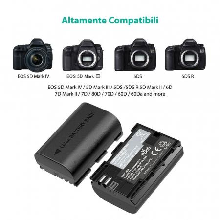 Set 2 acumulatori LP-E6, LP-E6N cu incarcator RAVPower RP-BC003, pentru camere Canon, EOS 5D Mark IV / 5D Mark III / 5DS / 5DS R / 5D Mark II / 6D Mark II / 7D Mark II / 7D / 80D / 70D / 60D / 60Da [3]