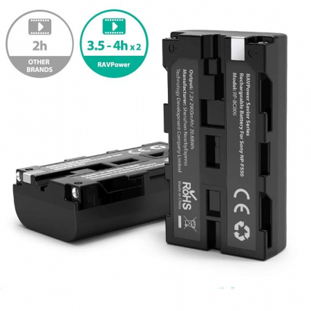 Set 2 acumulatori NP-F550 cu incarcator RAVPower RP-BC006, pentru camere SONY CCD-RV100/RV200/Seria SC, Seria TR [1]