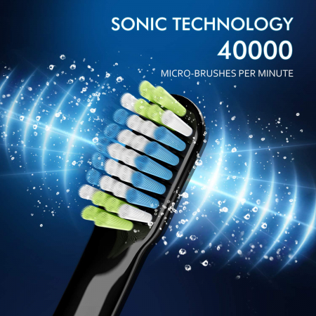 Periuta de dinti electrica ATMOKO AMHP141 cu 10 capete DuPont, 3D, 3 moduri, temporizator 2 min, 40000 pulsatii/min [1]