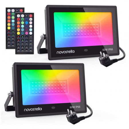 Set 2 proiectoare de podea LED RGB Novostella, Telecomanda , 60W, IP66 waterproof [0]