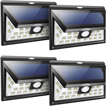 Set 4 lampi solare LITOM LTCD013, LED, 24 leduri, incarcare solara si senzor de miscare [0]