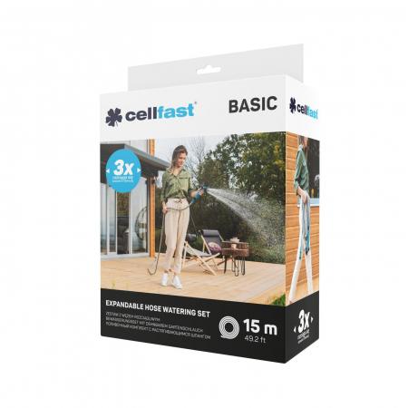 Set furtun pentru gradina extensibil Cellfast BASIC 15m, pistol, conectori [4]