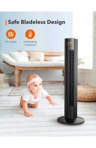 Ventilator turn TaoTronics TT-TF002, 60W, telecomanda, 3 viteze, display LED, silentios3