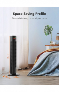 Ventilator turn TaoTronics TT-TF002, 60W, telecomanda, 3 viteze, display LED, silentios4