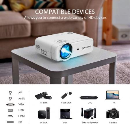Videoproiector Vankyo  Leisure 430W, BassEdition, 4000 Lumeni, LED, HDMI, SD, AV, VGA, USB, Telecomanda, Cablu HDMI [8]