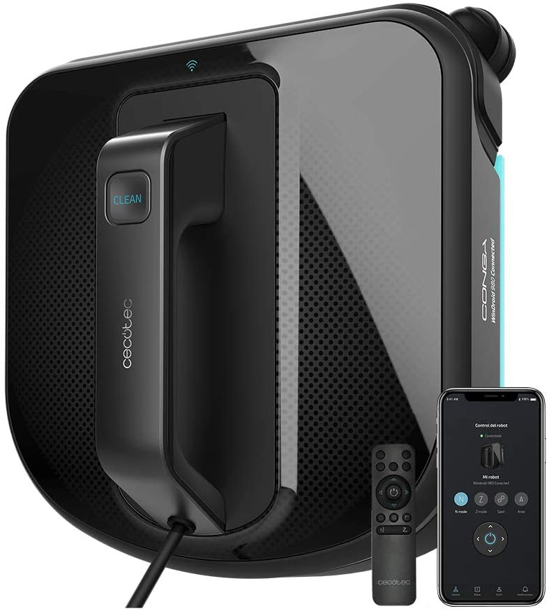 Robot curatare geamuri Cecotec Conga WinDroid 980 Connected, Aplicatie Smartphone, Telecomanda, Stergere uscata si umeda, 5 moduri de curatare - Resigilat