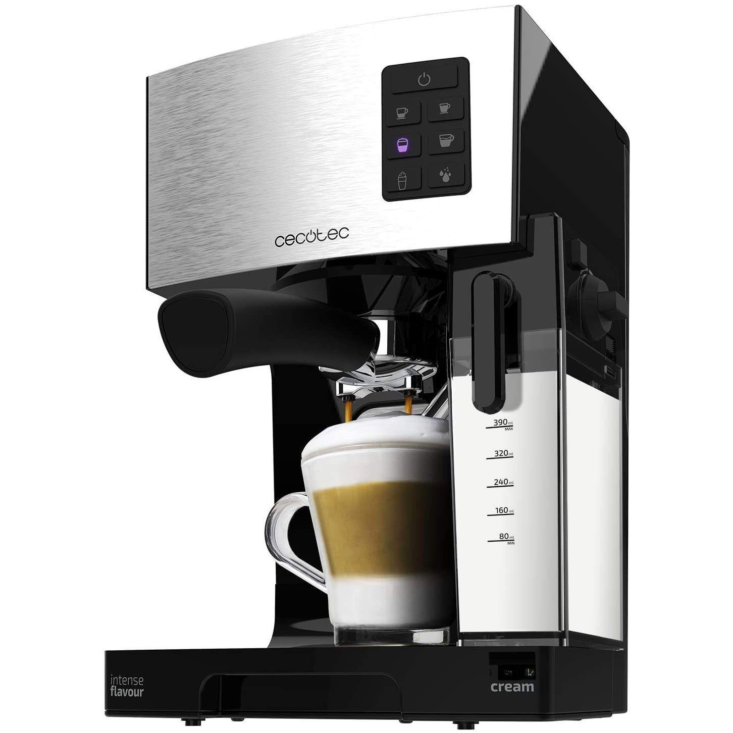 Espressor semi-automat Cecotec Power Instant-ccino 20, 1450 W, 20 bar, 1.4 l, rezervor lapte 400 ml