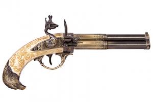Pistol cu trei țevi rotative0