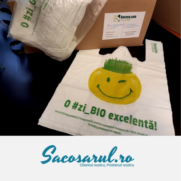 Punga biodegradabila maieu imprimata o zi_bio excelenta 23x35 cm 0