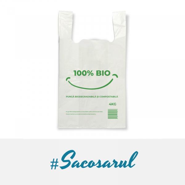 """Pungi biodegradabile maieu imprimate """"100% BIO"""" 27x50 cm, 4 kg 1"""