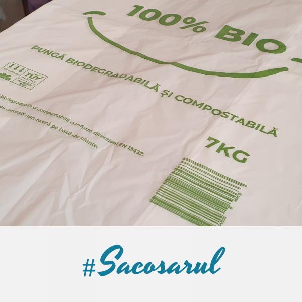 """Pungi biodegradabile maieu imprimate """"100% BIO"""" 30x55 cm, 7 kg 0"""