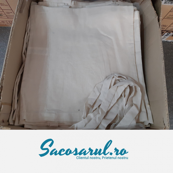 Sacosa de Panza din bumbac natur, cu toarta lunga, neimprimata, 38x42 cm 6