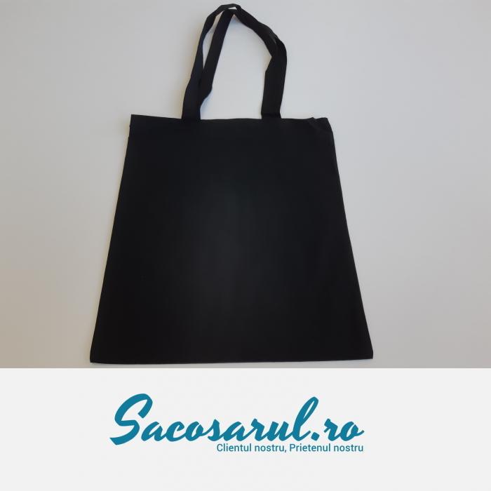Sacosa Neagra de Panza din Bumbac, cu toarta lunga, neimprimata, 38x42 cm - set 10 buc 0