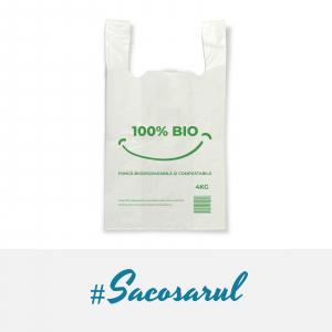 "Pungi BIOdegradabile Maieu 27x50 cm, imprimate ""100% BIO"", 4 kg - set 500 bucati1"