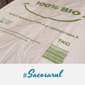 "Pungi BIOdegradabile Maieu 30x55 cm, imprimate ""100% BIO"", 7 kg - set 500 bucati0"