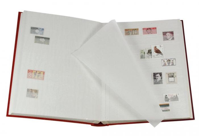 Clasor timbre 30 file / 60 pagini albe, coperta albastra cu print Retro-101 [1]
