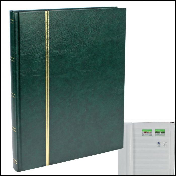 Clasor timbre 8 file / 16 pagini albe 170 x 225 mm - Verde-131-3 [0]