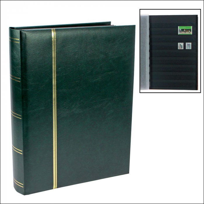 Clasor timbre A4 cu 16 File / 32 pagini negre - Verde-157-3 [0]