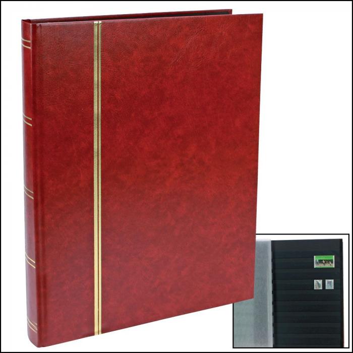 Clasor timbre A4, 16 File / 32 pagini negre - Burgundy-157-1 [0]