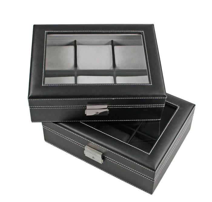 Cutie piele sintetica cu granulatie fina, pentru 6 ceasuri de mana, interior de catifea Gri - Exclusive-217-2 [0]