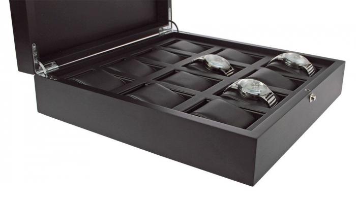 Caseta pentru ceasuri, lemn de frasin negru antracit pentru 12 ceasuri - Nobil-252 [2]
