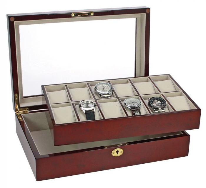 Cutie 12 ceasuri, lemn acoperit cu lac de pian, piele sintetica - Exclusive-260 [2]