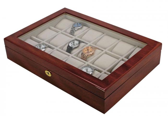 Cutie 18 ceasuri, lemn acoperit cu lac de pian, montabila pe perete - Exclusive-261 [1]