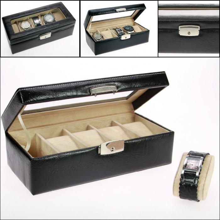 Cutie ceasuri, piele neagra cu granulatii, 5 pernute in catifea bej-264 [0]