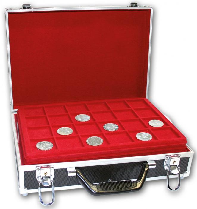 """Valiza pentru monede cu 8 tavi in catifea rosie """"Black Special"""" [0]"""