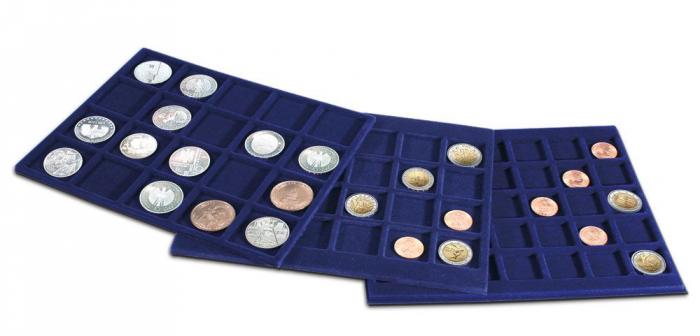 Valiza pentru monede cu 6 tavi in catifea albastra pentru 214 monede - Argintiu [1]