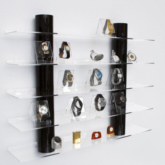 Raft acrilic prezentare cu 5 etajere, 2 coloane sticla acrilica neagra - Top View-5296 [0]